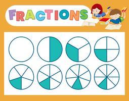 Une feuille de calcul de fraction mignonne vecteur