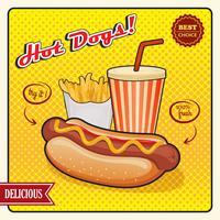 Affiche de style comique de hot-dogs