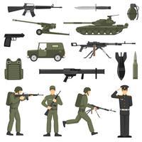 Armée Militaire Kaki Couleur Icons Collecton vecteur