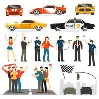 Collection d'éléments décoratifs Streen Racing Flat vecteur