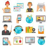 Jeu d'icônes de l'éducation en ligne vecteur