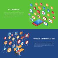 Ensemble de bannière isométrique de réseau social vecteur