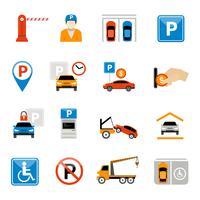 Jeu d'icônes de stationnement vecteur