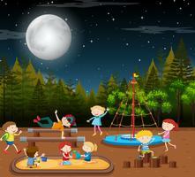Enfants, scène, nuit parc vecteur