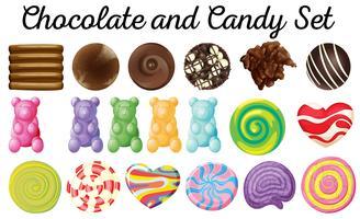 Conception différente de chocolat et de bonbons vecteur