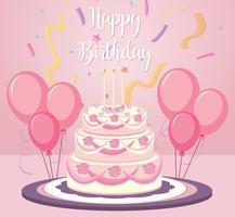 Un gâteau d'anniversaire sur fond rose vecteur