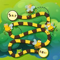 Modèle de jeu avec abeille qui vole