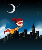 Une fille super héros volant dans le ciel vecteur