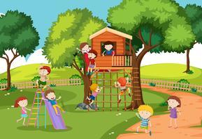 Enfants à la cabane vecteur