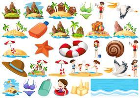 Ensemble de collection de plage d'été vecteur