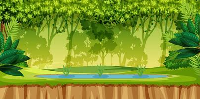 Une scène de jungle verte vecteur
