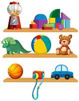 Ensemble de jouets dans l'étagère