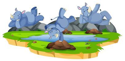 Caractère de rhinocéros heureux dans la nature vecteur