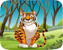 Un tigre dans la forêt vecteur