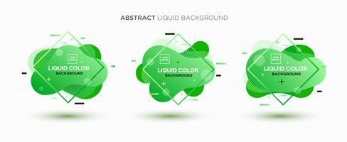 Ensemble de bannière de vecteur liquide abstrait moderne. Forme liquide géométrique plate avec dégradé de couleurs et élément de conception memphis. Modèle vectoriel moderne, modèle pour la conception d'un logo, flyer ou présentation.