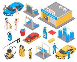 Kit isométrique de lavage de voiture vecteur