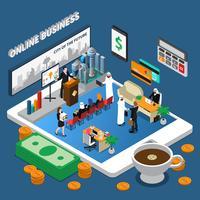 Illustration isométrique d'affaires en ligne de personnes arabes