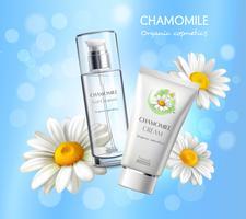 Affiche de publicité réaliste de produits de cosmétiques vecteur