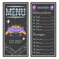 Modèle de menu de boulangerie vintage