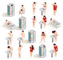 Collection de personnages d'hygiène matinale