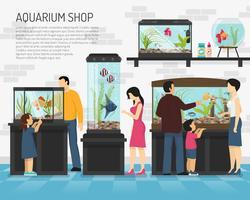 Illustration d'un magasin d'aquarium vecteur