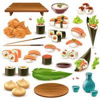Set de cuisine japonaise vecteur