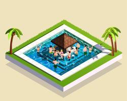 Amis dans l'illustration isométrique de parc aquatique