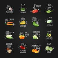 Ensemble d'emblèmes de légumes de tableau