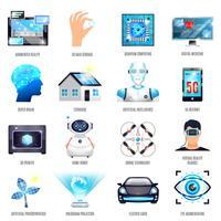 Technologies du futur Icons Set vecteur