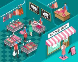 Illustration isométrique de magasin de viande vecteur