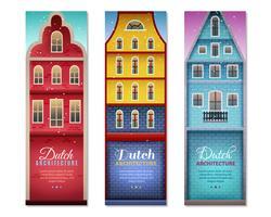 Les maisons néerlandaises voyagent des bannières verticales vecteur