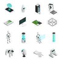 Intelligence artificielle isométrique Icon Set vecteur