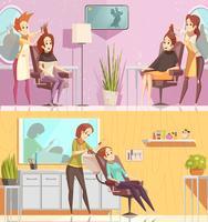 Bannières horizontales de dessin animé de salon de coiffure