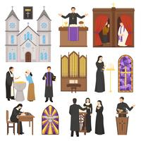 Ensemble intérieur de cathédrale de religion vecteur