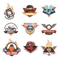 Collection de vrais emblèmes de motards vecteur