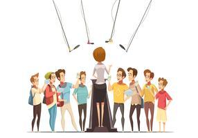 Illustration de dessin animé rétro pour adolescents vecteur
