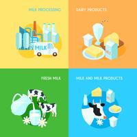 Produits laitiers frais au lait vecteur