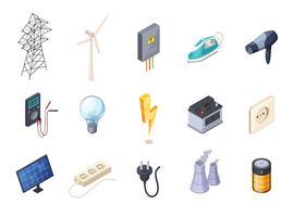 Électricité Isometric Icons Set vecteur