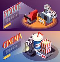 Collection de bannières de cinéma 3D vecteur