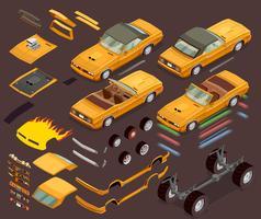 Pièces de voiture isométrique Snyling Tuning Car Tuning vecteur