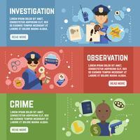 Ensemble de bannières de détective privé vecteur