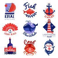 Ensemble d'emblèmes nautiques vecteur