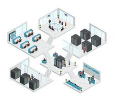 Composition multi-magasin isométrique du datacenter
