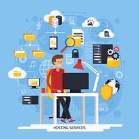 Concept de services d'hébergement vecteur