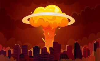Affiche de dessin animé de la ville de l'explosion nucléaire vecteur