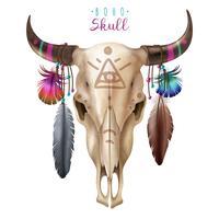 Crâne vache boho vecteur