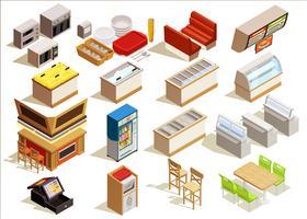 ensemble de meubles de restauration rapide vecteur