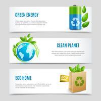Bannières horizontales d'écologie dans la conception de papier