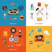 Concept auto 4 icônes plates