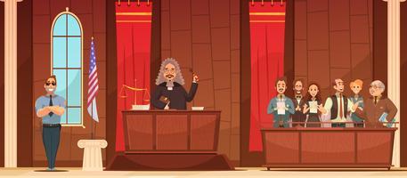 Affiche rétro de dessin animé de cour de loi